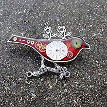 Odznaky/Brošne - ORANŽOVÝ PTÁČEK, brož, hodinková, steampunk - 10124690_