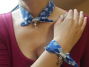 Sady šperkov - Modrý set - textil - 10126614_