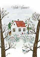 Papiernictvo - Vianočny pozdrav / zasnežená krajinka - 10126831_