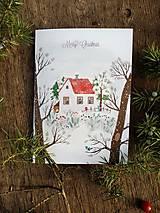 Papiernictvo - Vianočny pozdrav / zasnežená krajinka - 10126841_