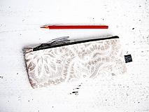Taštičky - Peračníky režné - natur ornamenty - 10125101_