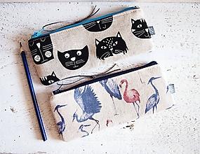 Taštičky - Peračníky režné - plameniaci a mačky - 10125409_