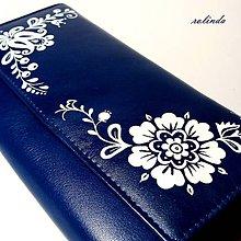 Peňaženky - Modrá peněženka s květy - 10125686_
