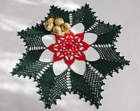 Úžitkový textil - Vianočná háčkovaná dečka - 10127205_