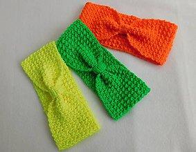 Čiapky - Výpredaj - Háčkované čelenky neónovej farby - 10127061_