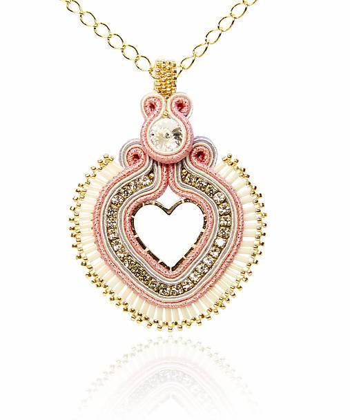 Prívesok Srdce ružovo-zlaté