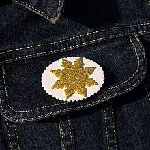 Odznaky/Brošne - Brošňa Snehová vločka Zlatá - 10126474_