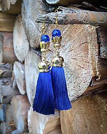 Náušnice - Modré strapcové náušnice - 10125932_