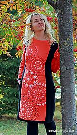 Dámske šaty midi, batikované, maľované, etno SRDCOVKY