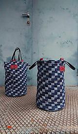 Úžitkový textil - riflový koš kostička, džínový organizér - 10128129_