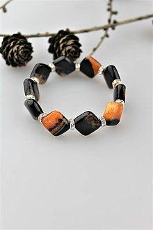 Náramky - achát čierno-oranžový náramok luxusný - 10125778_
