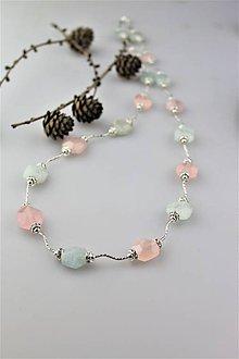 Náhrdelníky - morganit a akvamarín náhrdelník dlhý luxusný - 10127936_