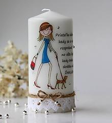 Svietidlá a sviečky - Dekoračná sviečka pre priateľku (Pestrofarebná) - 10127443_