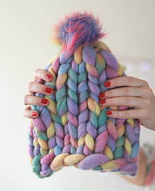 """Čiapky - Chunky """"Handspunka"""" extra hrubá pletená vlnená merino čiapka - 10126146_"""