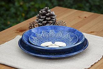 Nádoby - Set 3 tanierov - plytký, hlboký a dezertný - čipkovaná kolekcia - 10125325_