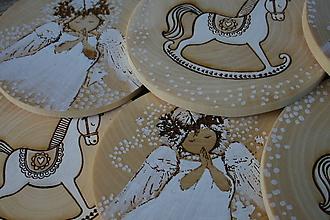 Dekorácie - vianočná drevená závesná dekorácia sada - 10126365_
