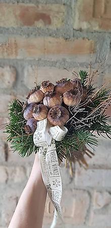 Dekorácie - Vianočná maková kytica - 10127314_
