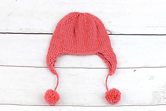 Detské čiapky - Koralová ušianka zimná EXCLUSIVE FINE - 10127073_