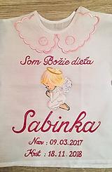 Detské oblečenie - Maľovaná Krstná košielka s anjelikom - 10125624_