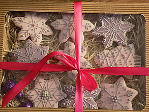 Dekorácie - Dekoratívne medovníky ružové ,sada v darčekovom balení - 10125468_