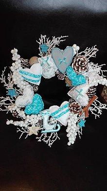 Nezaradené - Vianočné vence - modry, tyrkysovy - 10124892_