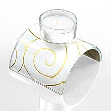 Svietidlá a sviečky - sklenený svietnik na čajovú sviečku biely - 10127586_