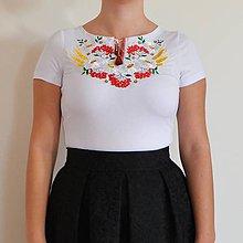 Tričká - Folklórne dámske tričko , vyšívané , s výšivkou , folk, ľudové - 10125848_