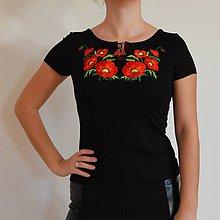 Tričká - Folklórne dámske tričko , vyšívané , s výšivkou , folk, ľudové - 10126634_