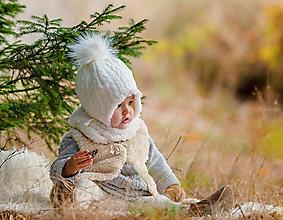 Detské čiapky - Zimný set Vrkoče Ivory & fleece cream - 10124923_
