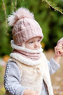 Detské čiapky - Zimná súprava Vrkoče Old pink & fleece cream - 10126014_