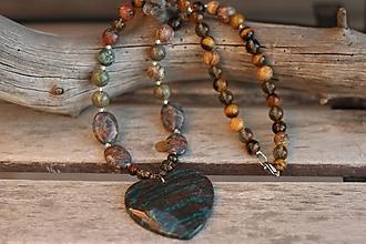 Náhrdelníky - Náhrdelník do krku z minerálov achát, jaspis, záhneda, tigrie oko - 10127277_
