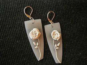 Náušnice - Náušnice z polyméru, ľadová ruža - 10124939_