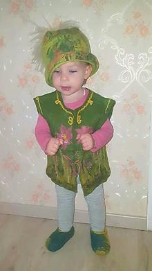 Detské čiapky - Dievčenská (detská) vlnená plstená čiapka s kožušinovým brmbolcom - 10127222_