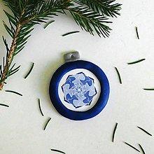 Dekorácie - FIMO vianočná ozdoba - snehová vločka/mandala 1 - 10125904_