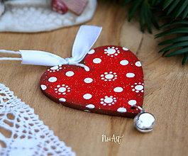 Dekorácie - Srdiečko cinkavé, červené, vianočná ozdoba - 10131644_