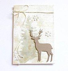 Papiernictvo - Vianočná pohľadnica, jeleň - 10128336_