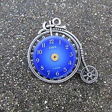 Odznaky/Brošne - Staré KOLO, brož s modrým ciferníkem,steampunk - 10131450_
