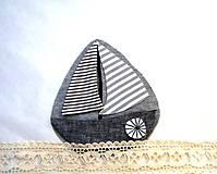 Materiál ručne robený - Nášivka lodička - 10129514_