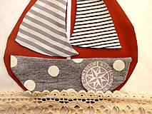 Materiál ručne robený - Nášivka lodička - 10129587_