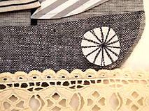 Materiál ručne robený - Nášivka lodička - 10129591_