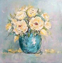 Obrazy - Zátišie so žltými ružami - 10129893_