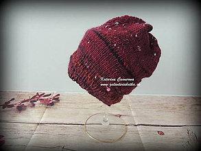 Detské čiapky - Pletená čiapka z ručne pradenej merino vlny s hodvábom - 10131454_