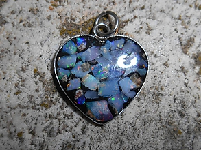 Náhrdelníky - heart with opal for happy - 10132133_