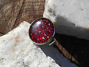 Prstene - ring with red garnet-big - 10132221_