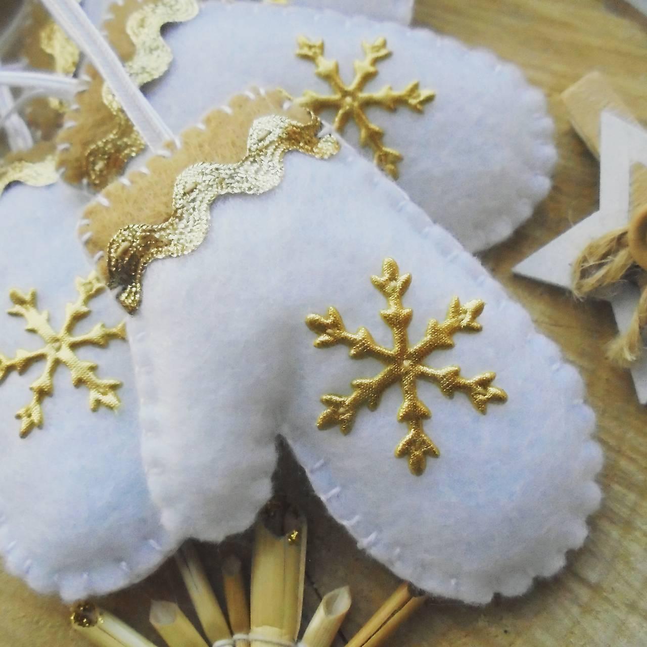 Vianočné rukavičky - zlaté