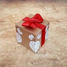 Darčeky pre svadobčanov - Krabička kraft s mašličkou - 10129837_