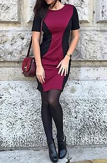 48cfcedbee24 Šaty - Bordovo-čierne šaty zoštíhľujúcim strihom - 10129527
