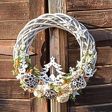 Dekorácie - Veľký biely vianočný veniec - 10131880_