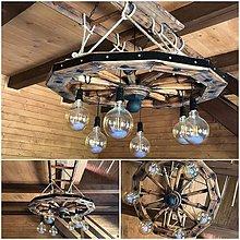 Svietidlá a sviečky - Luster  90 cm drevene koleso na rebríku - 10128228_