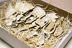 Hudobné nástroje - Sada vianočných ozdob pre muzikantov - 10128727_